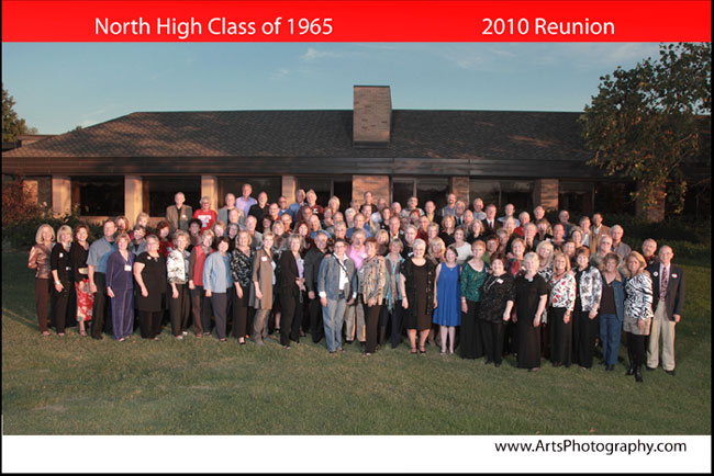 North High Class of 1965 - Outdoor clas reunion photograph