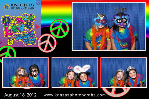 Colorful photo booth layout.